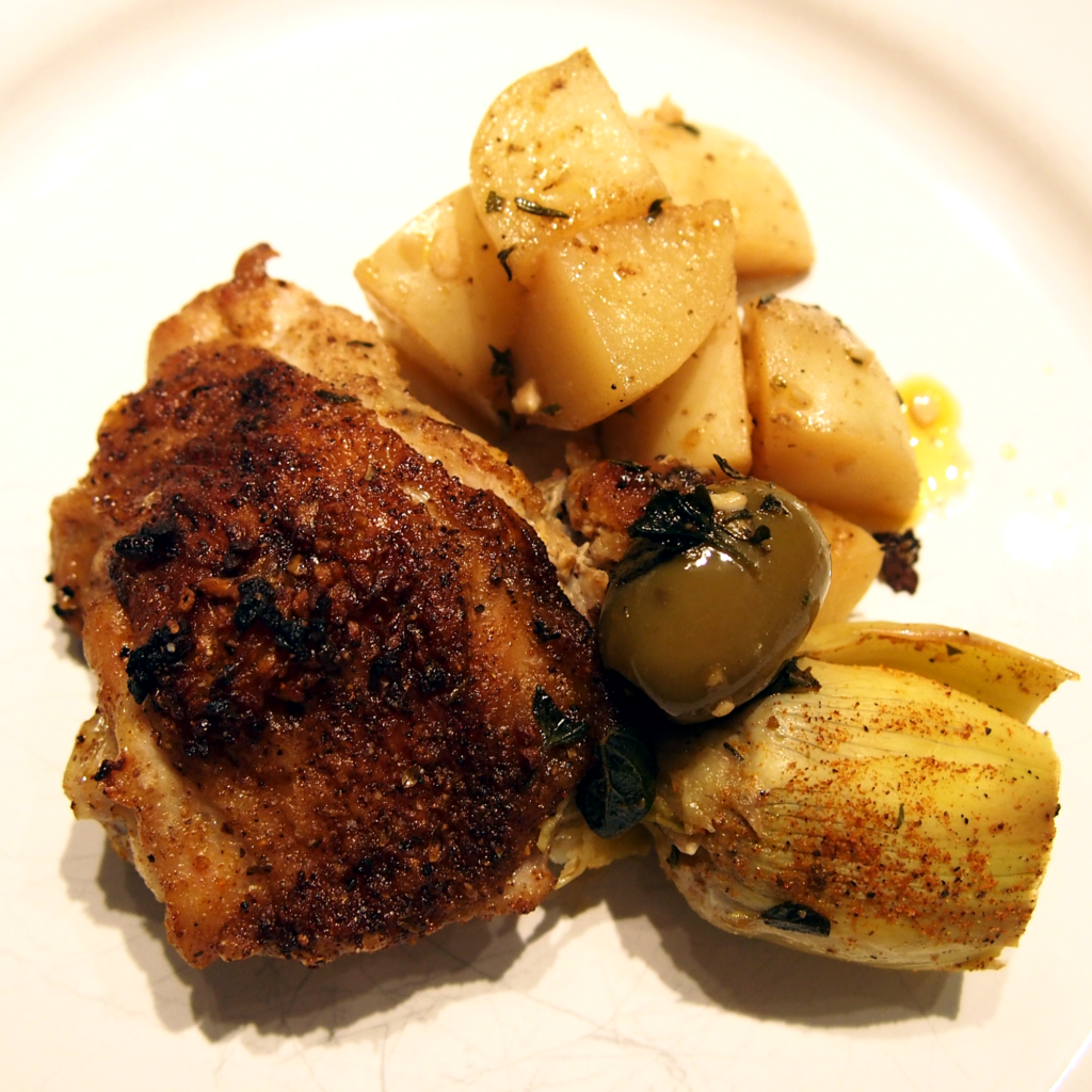 Roasted chicken and artichokes