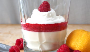 Lemon Posset with Raspberry Coulis