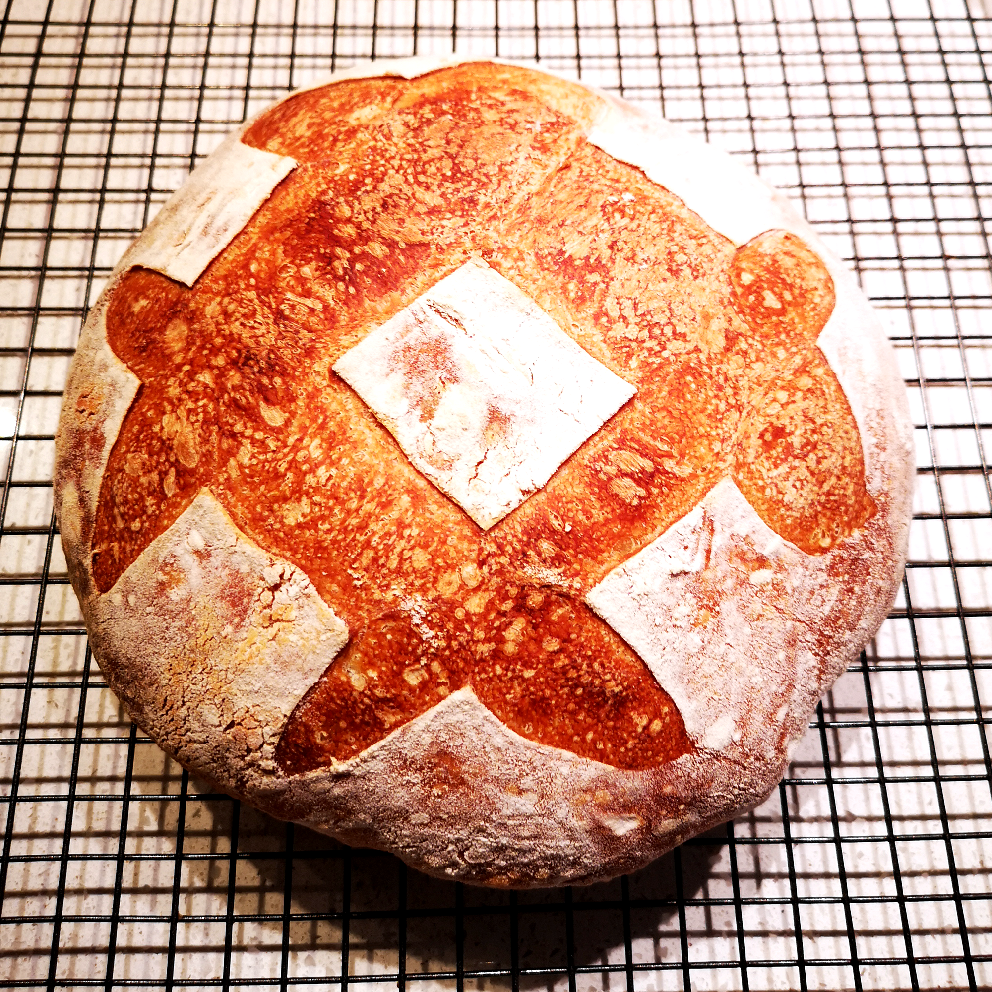 Sourdough loaf with scoring