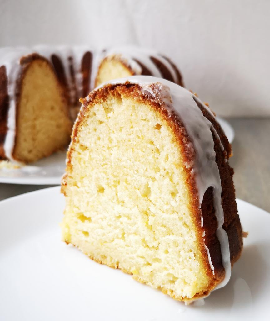 Slice of Lemon Pound Bundt Cake